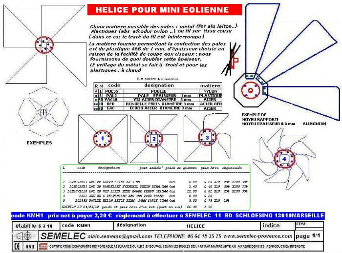 H lice pour mini olienne - Fabrication d une eolienne ...